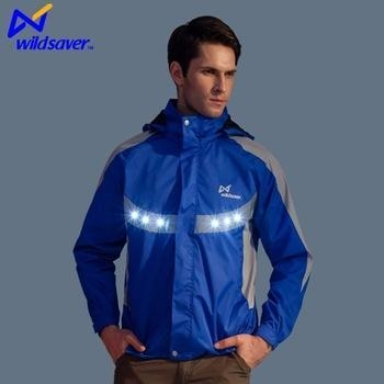 Quality 100 polyester waterproof bike jacket LED sport jacket for men for sale