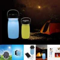 Wholesale Multi functional silicone folding water bottle with Solar mobile charge function from china suppliers