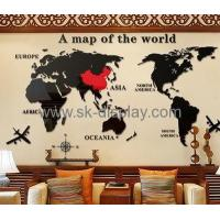 Wholesale acrylic italian mirror world map wall sticker wall decorative mirror MAK-062