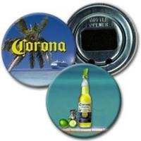 Lenticular bottle opener with Corona bottle, palm tree, tropical beach, flip
