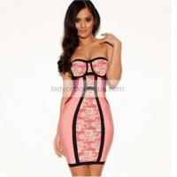 Wholesale Pink bandage and lace strapless bandage dresses from china suppliers