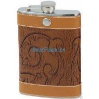 Wholesale Stainless steel leather-wrapped hip flask from china suppliers