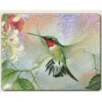 Hummingbird art tempered glass cutting board