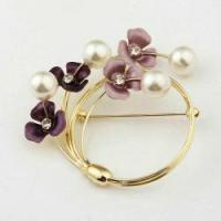 Wholesale Flower brooch for wedding invitations with pearl and CZ dia from china suppliers