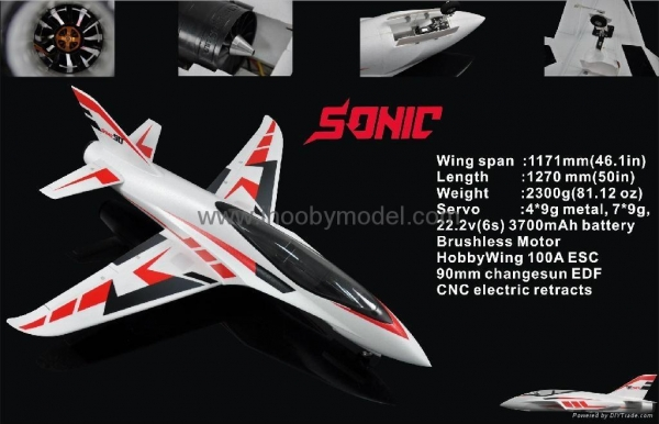 Quality Sonic 90mm EDF Jet 1200mm wingspan EPO RC plane model high speed airplane for sale