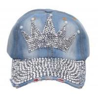 China Denim Rhinestone Hats Home Imperial crown beads jean hats on sale