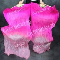PAIRS 1.5M BELLY DANCE 100% SILK FAN VEILS pink- light pink