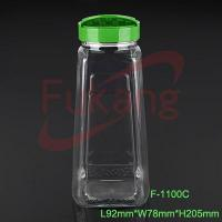 Wholesale 1100ml pet plastic chili powder jar,PET square spice bottle from china suppliers