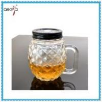 Wholesale Round Pineapple Shaped Glass Clear Bottle WIth Plastic Lid Mason Jar from china suppliers