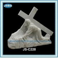 Buy cheap cheap decorative white marble cross jesus statue from wholesalers