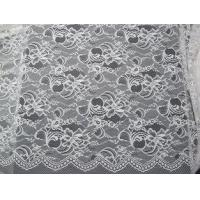 Wholesale White Nylon Swiss Lace Fabric Floral Knitted With Border Lace and Scallop Edge from china suppliers