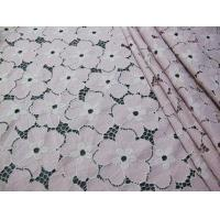 China Floral Heavy Cotton Nylon Lace Fabric / White Stretch Lace Fabric SYD-0005 on sale