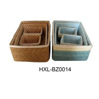 colored wheat straw storage basket with handle