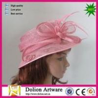 China cheap ladies pink color sinamay fascinator hats for party on sale