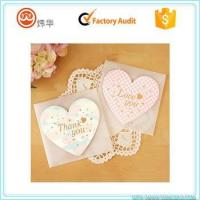China Fancy paper small heart shape thank you blank greeting card with envelope on sale