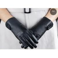 Black Fashion Short Women's Leather Gloves With Button Belt , Sheep Lambskin Leather