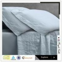 white made in China plain vintage washed flax linen bedding set