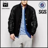 Wholesale Wool Bomber Jacket with Faux Leather Sleeves from china suppliers