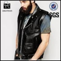 Wholesale Men Vintage Sleeveless PU Leather Biker Jacket from china suppliers