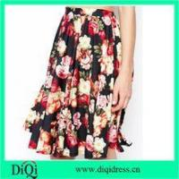 Wholesale women fashion midi skirts in chiffon floral rose prints from china suppliers