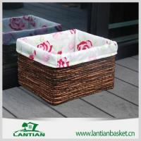 Cheap square lined handmade wicker storage basket