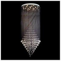 """18 Lights Height 78.7"""" Contemporary Cone Crystal Chandelier with Polished Chrome Base"""