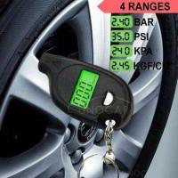 Wholesale keychain LCD tire pressure gauge with led light Portable Mini tyre guage from china suppliers