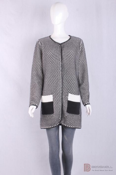 Quality BV-1429 Crew Neck Womens Structure Knit Long Cardigan, Autumn warm sweater with PU piping for sale