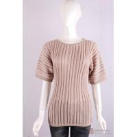 Wholesale P-014 Crew Neck Womens Structure Knit Pullover, Spring/Summer Cotton Sweater from china suppliers