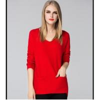Wholesale Wholesales Cute V neck Pure color Women Pullover Sweater from china suppliers