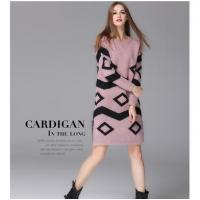 Wholesale European geometric knits pullovers female warm long skirt SWEATER DRESS from china suppliers