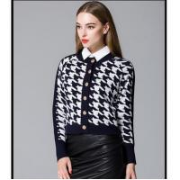 Wholesale Shirt Long sleeve winter women cardigan Houndstooth sweater with buttons from china suppliers
