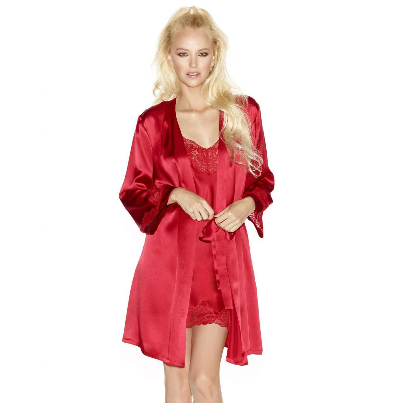 Wholesale MORGAN Iconic Short Silk Robe in Scarlet from china suppliers