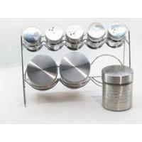 Wholesale Glass storage jar and spice jar sets with s/s coating, iron stand from china suppliers