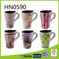 Wholesale Unique shaped promotional ceramic coffee mug with lid from china suppliers
