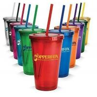 Wholesale Mugs&Cups Wholesales double wall drink cup with straw 450ml cup from china suppliers