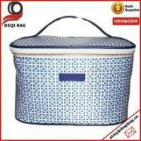Wholesale custom pu cosmetic case with full blue print storage case with sheet foam from china suppliers