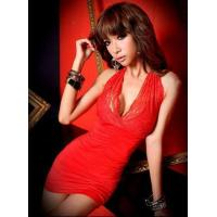 Wholesale 1176 # Mesh Lace Halter Deep V-Neck fold dress - Red from china suppliers