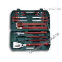 Wholesale 17pcs local Chinese wood handle bbq set with plastic storage case from china suppliers