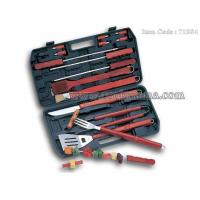 18pcs local Chinese wood handle bbq set with plastic storage case