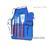 Wholesale 5pcs local Chinese wood handle bbq set with apron tote bag from china suppliers