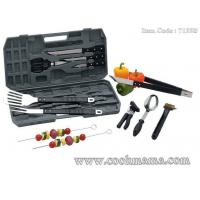 Wholesale 12pcs plastic handle bbq set with plastic storage case from china suppliers