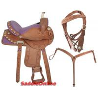 Wholesale 15 Barrel Racing Purple Ostrich Seat Saddle Wood Tree[2117] from china suppliers
