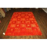 China 6x9 OVER-DYED UPSCALE WOOL SILK TANGERINE RUG 1166 on sale