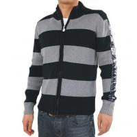 Wholesale Moncler Men Zip Striped Sweaters Black Grey from china suppliers