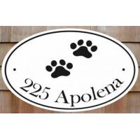 China Cat Paw Prints Oval Address House Plaques on sale
