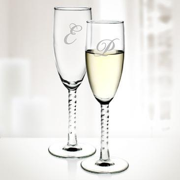 China Seasonal Specials Set of 2 Engraved Molten Glass Angelique Twisted Champagne Flutes