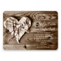 Wholesale Rustic Country Barn Wood Love Heart Wedding Invite from china suppliers