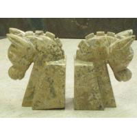 Wholesale Animal Bookends Horse Head Bookends Fossil Stone from china suppliers