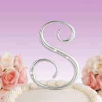 Quality Anniversary Gifts Rhinestone Accent Monogram Cake Top for sale